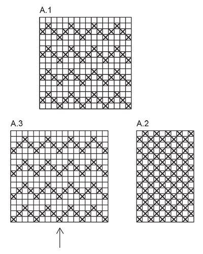 Conjunto DROPS de: Manoplas y calcetas de punto con patrón de pez ...