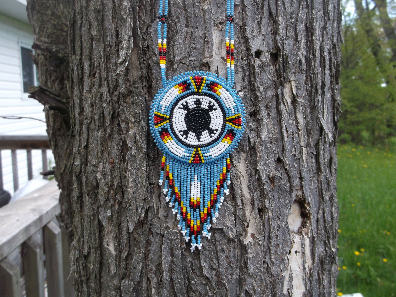 turtle necklace,native american beadwork, native american turtle
