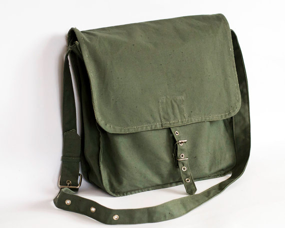 dcac4fa80b Vintage Military Bag 1970 s Green Canvas Messenger Bag