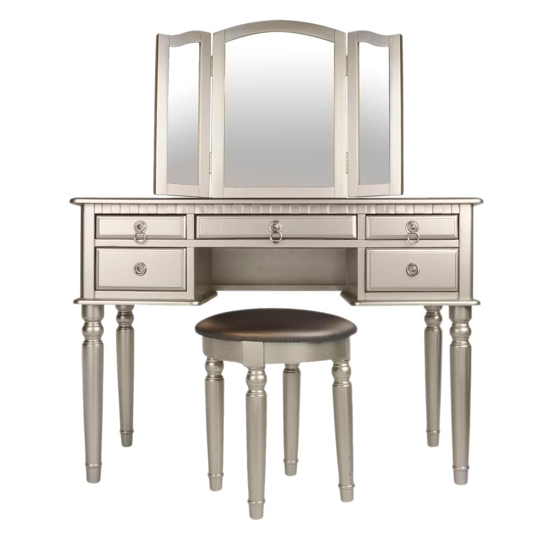 Silver Bobkona St Croix 3 Fold Mirror Vantiy Table with Stool Set