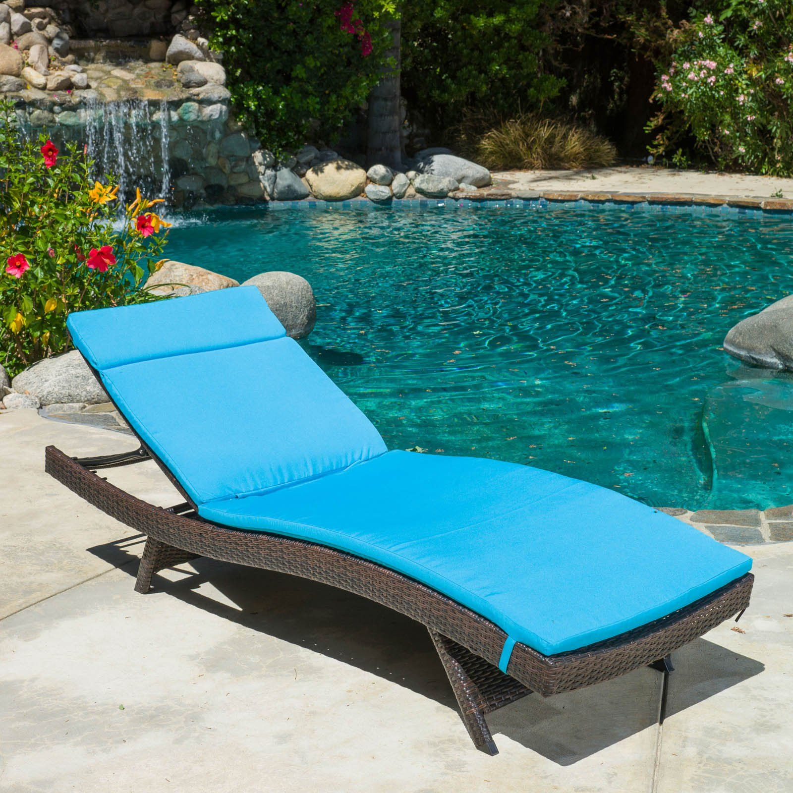 094fc691260 Outdoor Adjustable Chaise Lounge with Colored Cushion Caramel in ...