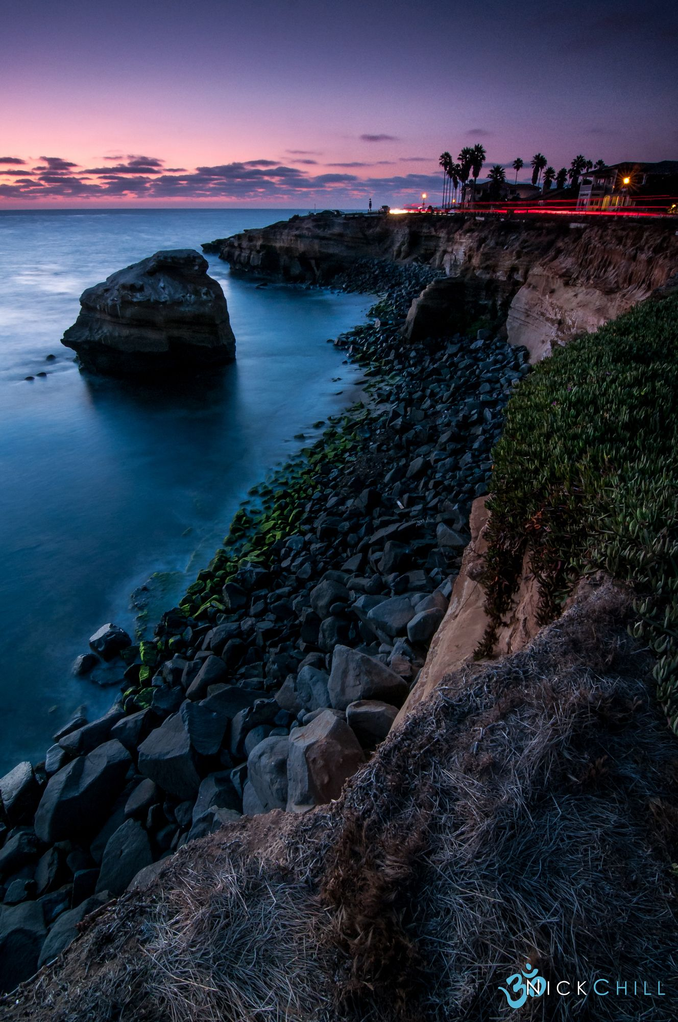 Evening light on Sunset Cliffs in San Diego California