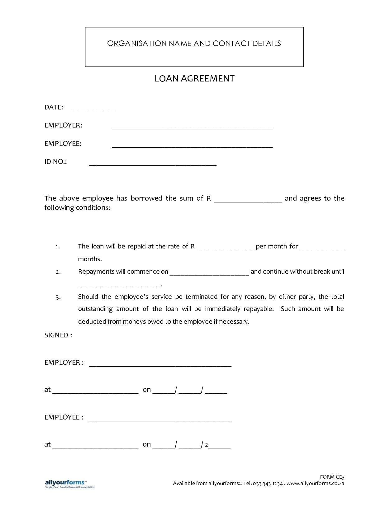 Printable Sample Loan Template Form  Loan Contract Example
