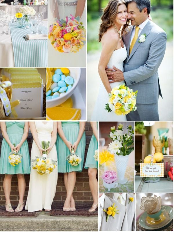 wedding color combination: summer yellows and blues; aqua ...