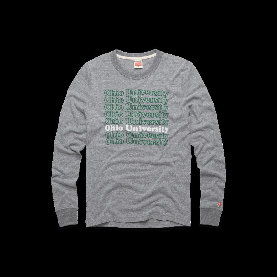 Ohio University Repeat Long Sleeve Tee Retro Ou Bobcats T Shirt Homage Ohio University Long Sleeve Tees Graphic Sweatshirt [ 1080 x 1080 Pixel ]