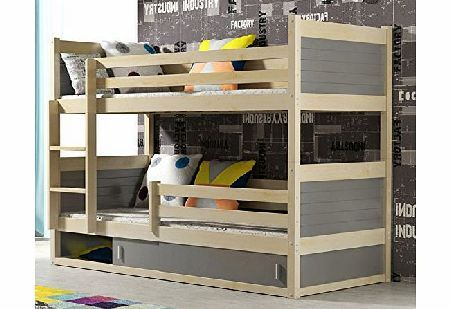 Interbeds Rico 2 Bunk Bed 185x80 Pine Colour With 2 Foam Mattresses