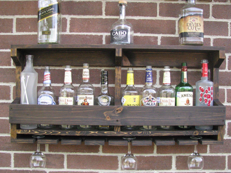 Liquor Rack Rustic Hanging Wine Rack Liquor Cabinet By Coolandusefulthings On Etsy Https Www Etsy Com Listin Hanging Wine Rack Wine Rack Wall Bar Cabinet