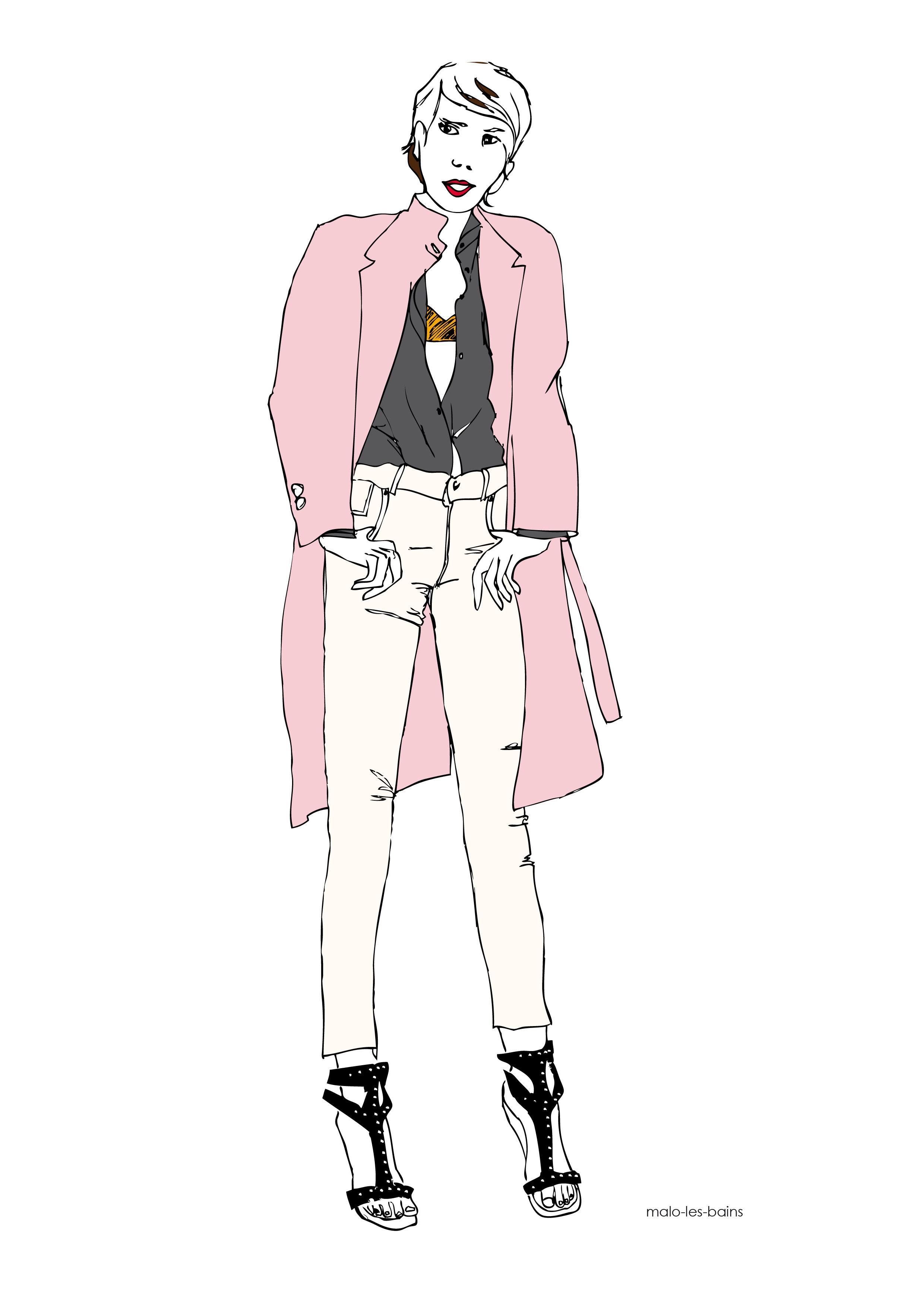 manteau rose poudré
