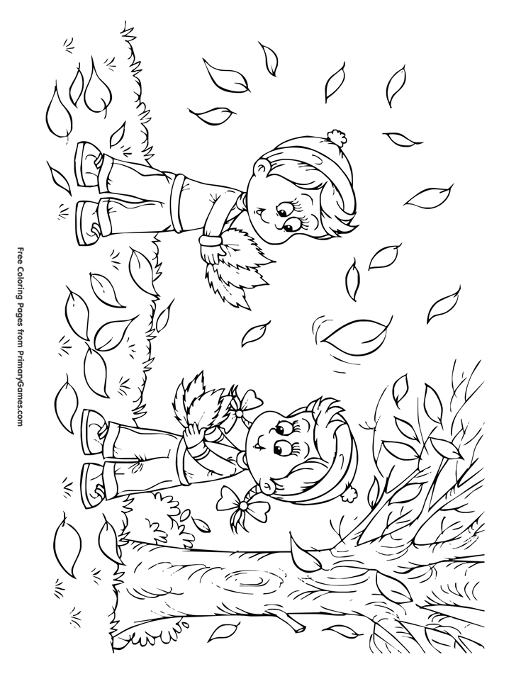Fall Coloring Page Children Playing In The Leaves Free Coloring Pages Jesus Shine In Me Page