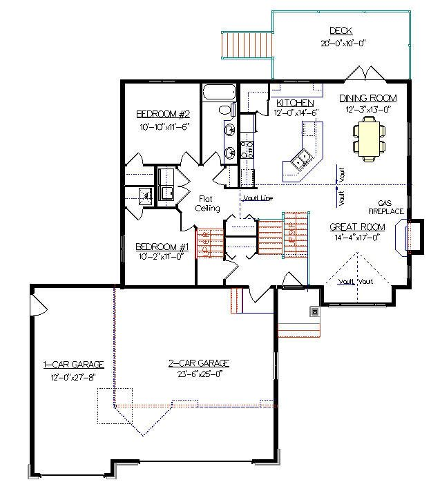 Bi Level House Plan With A Bonus Room 2011579 By E Designs Garage Plans House Plans 2 Car Garage Plans