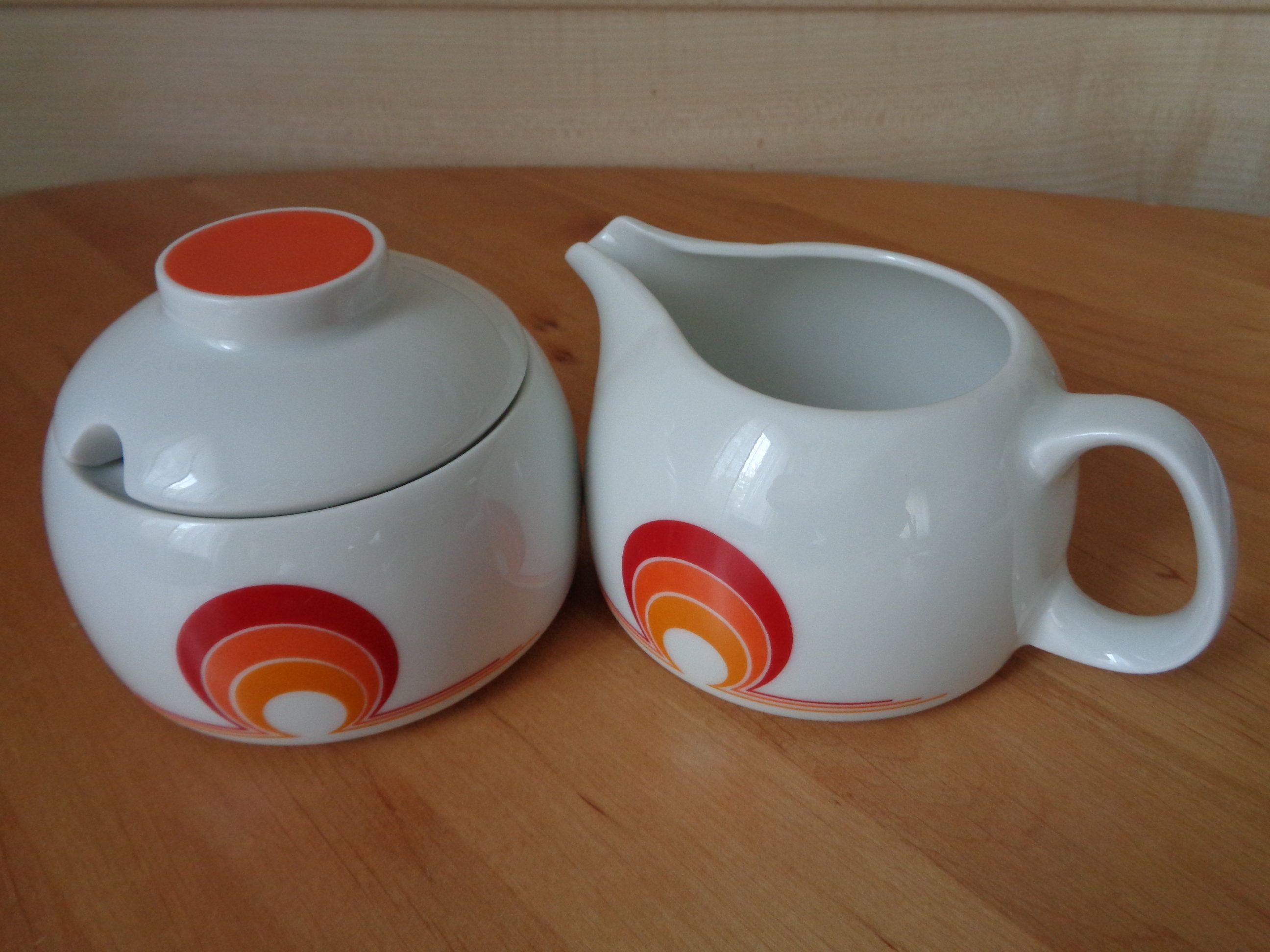 Schönwald Germany Porcelain Sugar Bowl & Creamer with