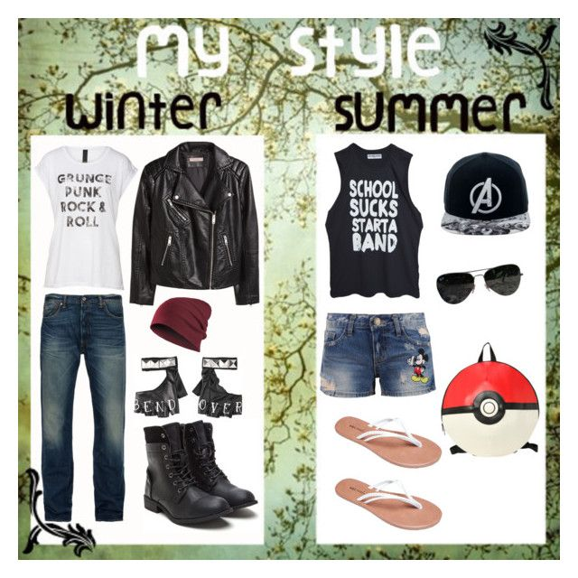 """""""Winter VS. Summer"""" by spirit-ninja on Polyvore featuring Axel, H&M, Levi's, Disney, Wet Seal, Marvel Comics and Ray-Ban"""