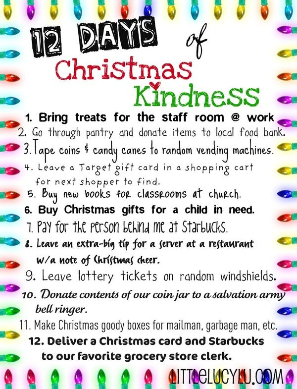 12 days of christmas kindness christmas pinterest holidays random acts of kindness perfect idea for the holiday season helps to remind us it is better to give than receive though i might switch up the starbucks pronofoot35fo Image collections