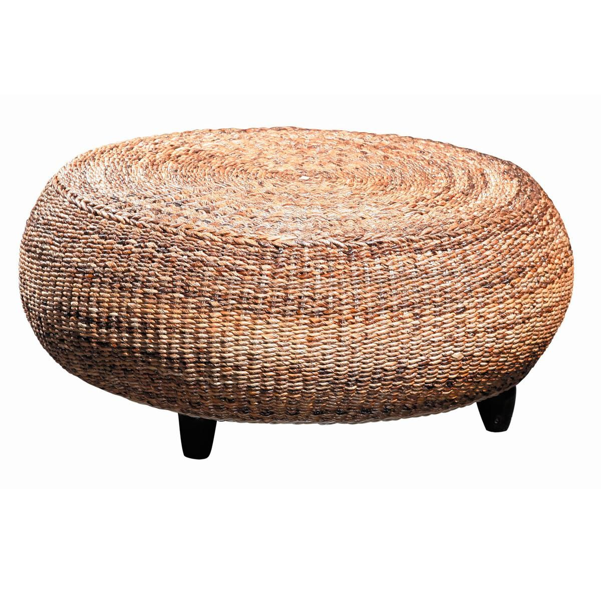 round seagrass ottoman something like this for family room coffee table cheryl 39 s residence. Black Bedroom Furniture Sets. Home Design Ideas