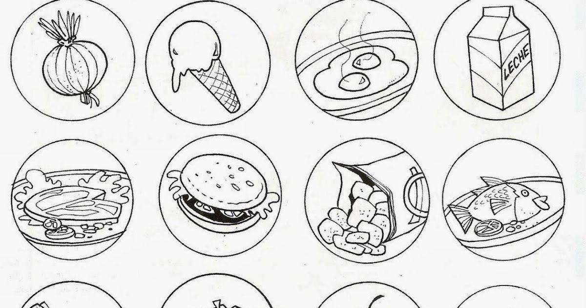 Alimentos Saludables Y Alimentos Chatarra Para Colorear En 2020