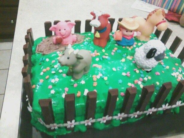 Farm Animal Birthday Cake 2 Sheet Cakes With Green Frosting Milk Chocolate Icing For Mud Hole Fisher Price Animals Flower Sprinkles Kit Kat Bars