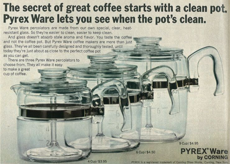 1967 Ad, Corning Pyrex Ware Coffee Pots #coffeepots