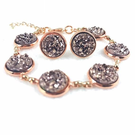 Bridesmaid Gift Druzy Necklace and Bracelet Set Lavender Druzy Jewelry Set Druzy Necklace and Bracelet for Bridesmaids Gift for Her
