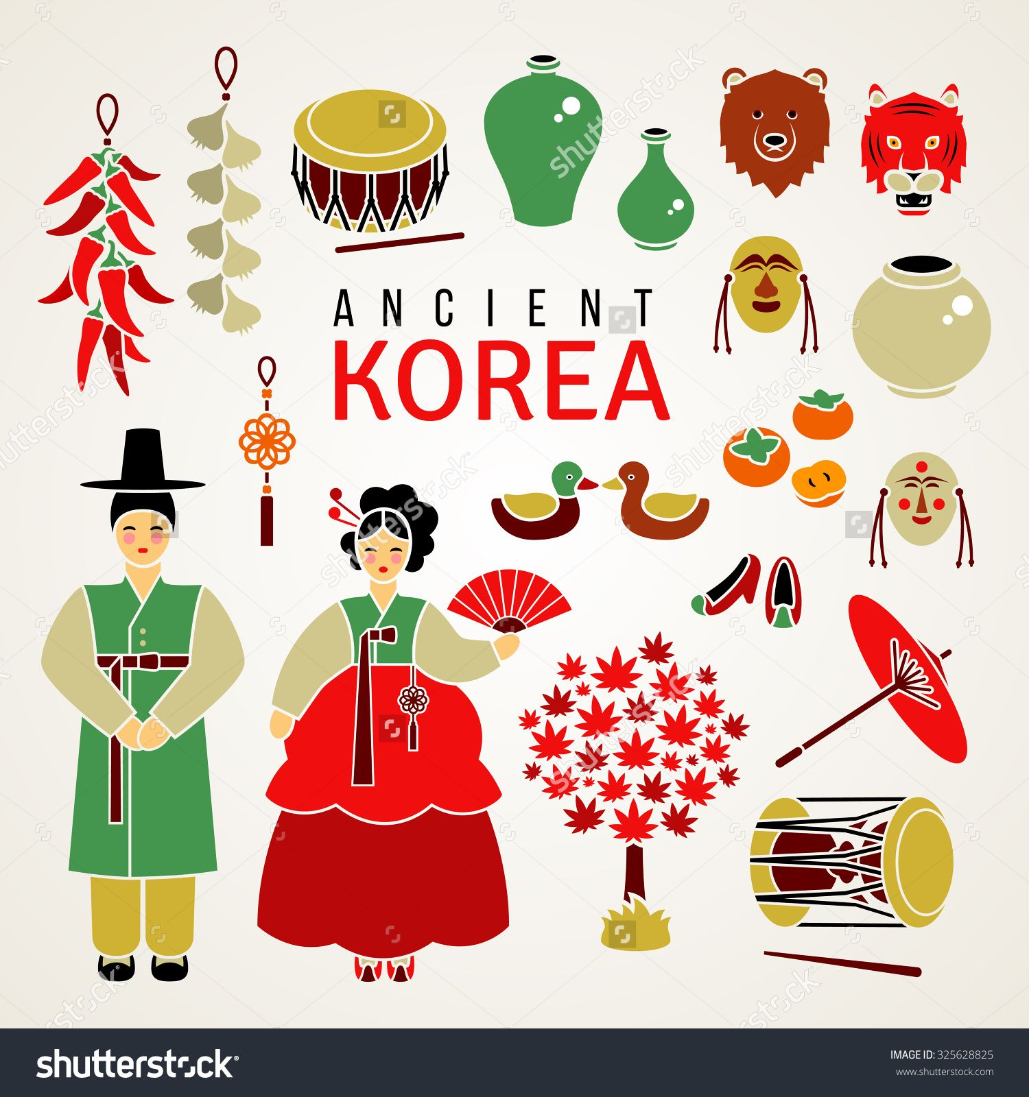 Stock vector korean national symbols set of flat icons culture stock vector korean national symbols set of flat biocorpaavc Image collections