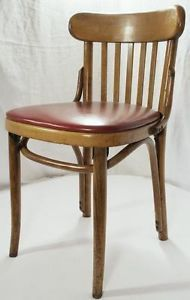 Vintage Danish Modern Red Shelby Williams Bent Wood Kitchen Table Dining Chairs