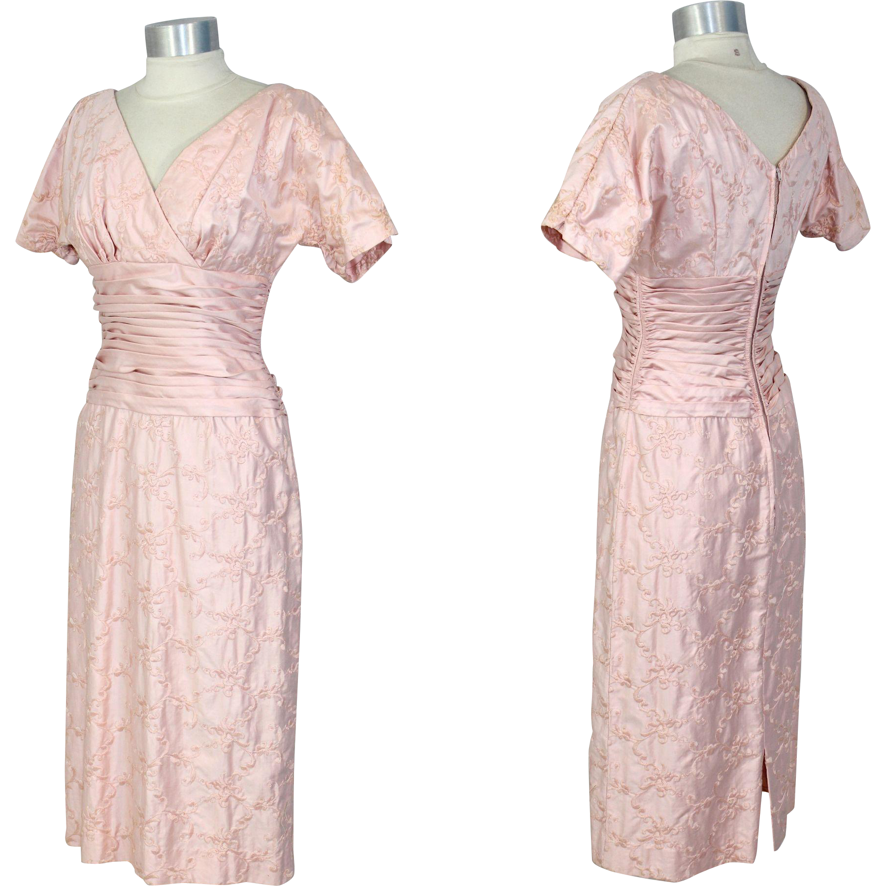 Vintage s embroidered pink sateen dress wcummerbund waist xs
