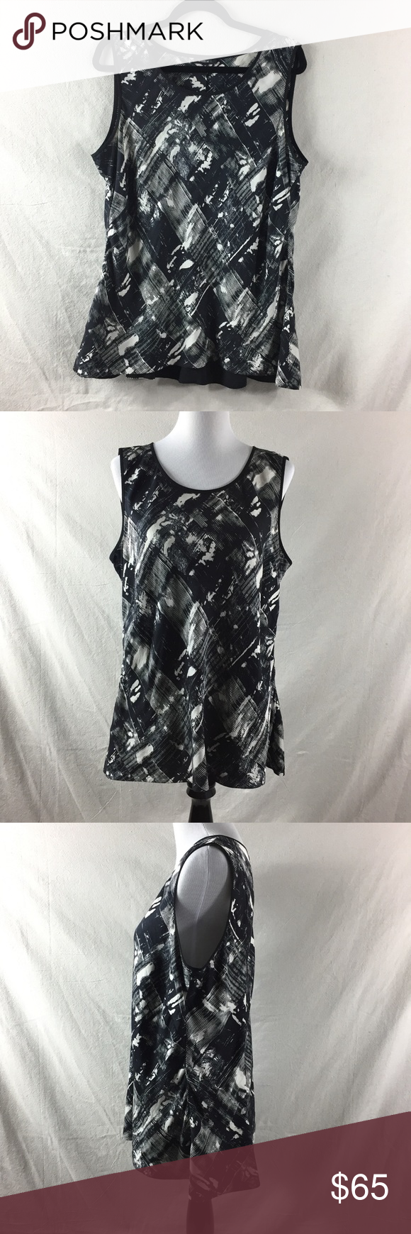 Lafayette 148 Silk Sleeveless Abstract Top Sz 14 New York Black And White Sleeveless Clothes Design