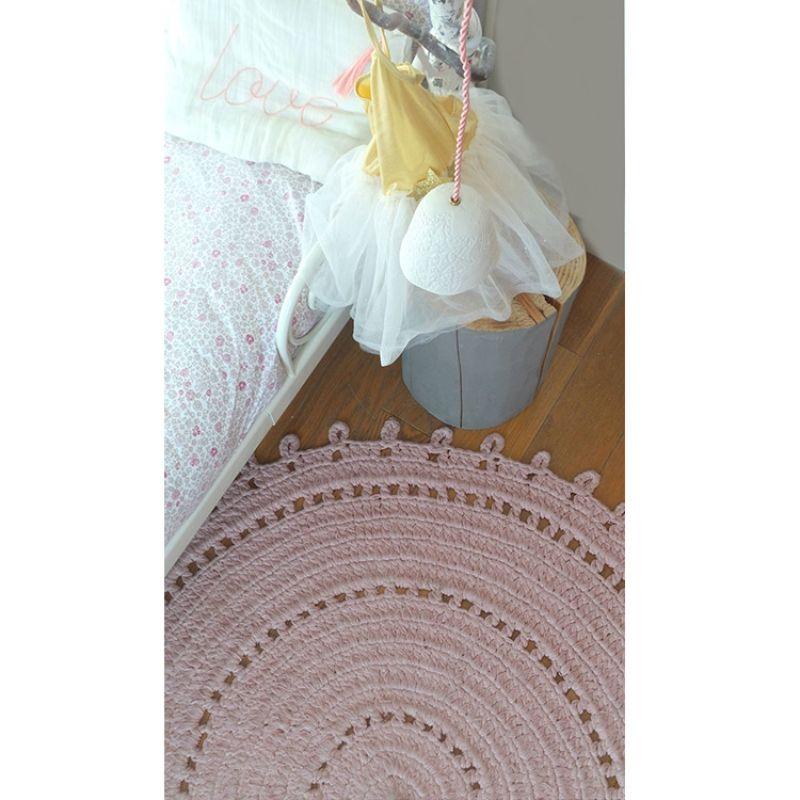 Tapis Rond Gypsy Coton Rose 120 Cm Varanassi Chambre