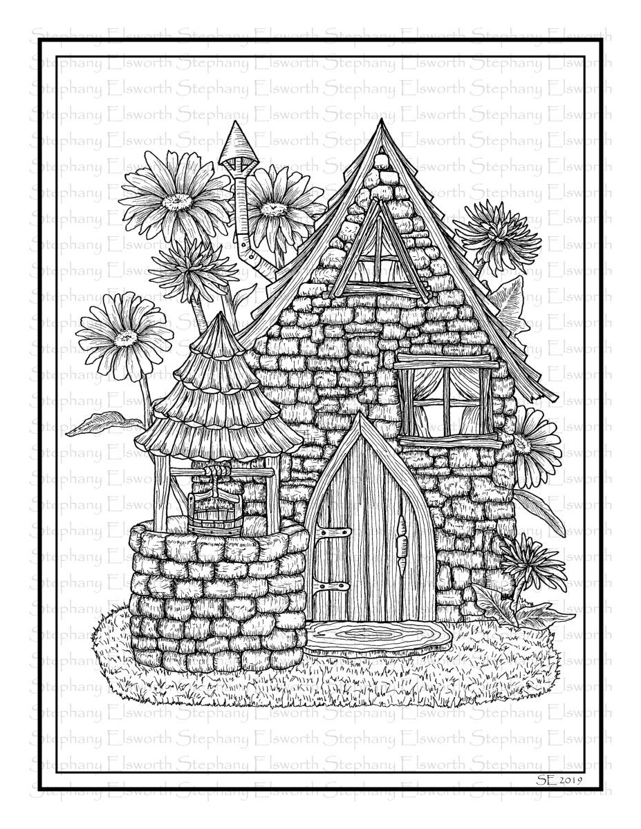 Saltbox And Wishing Well Printable Fairy House Coloring Page Fairy Coloring Pages Coloring Books Coloring Pages