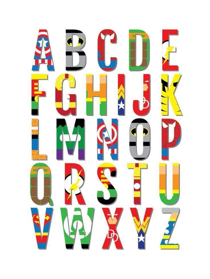 Superheld Alphabet Kinderzimmer & Kinderzimmer drucken