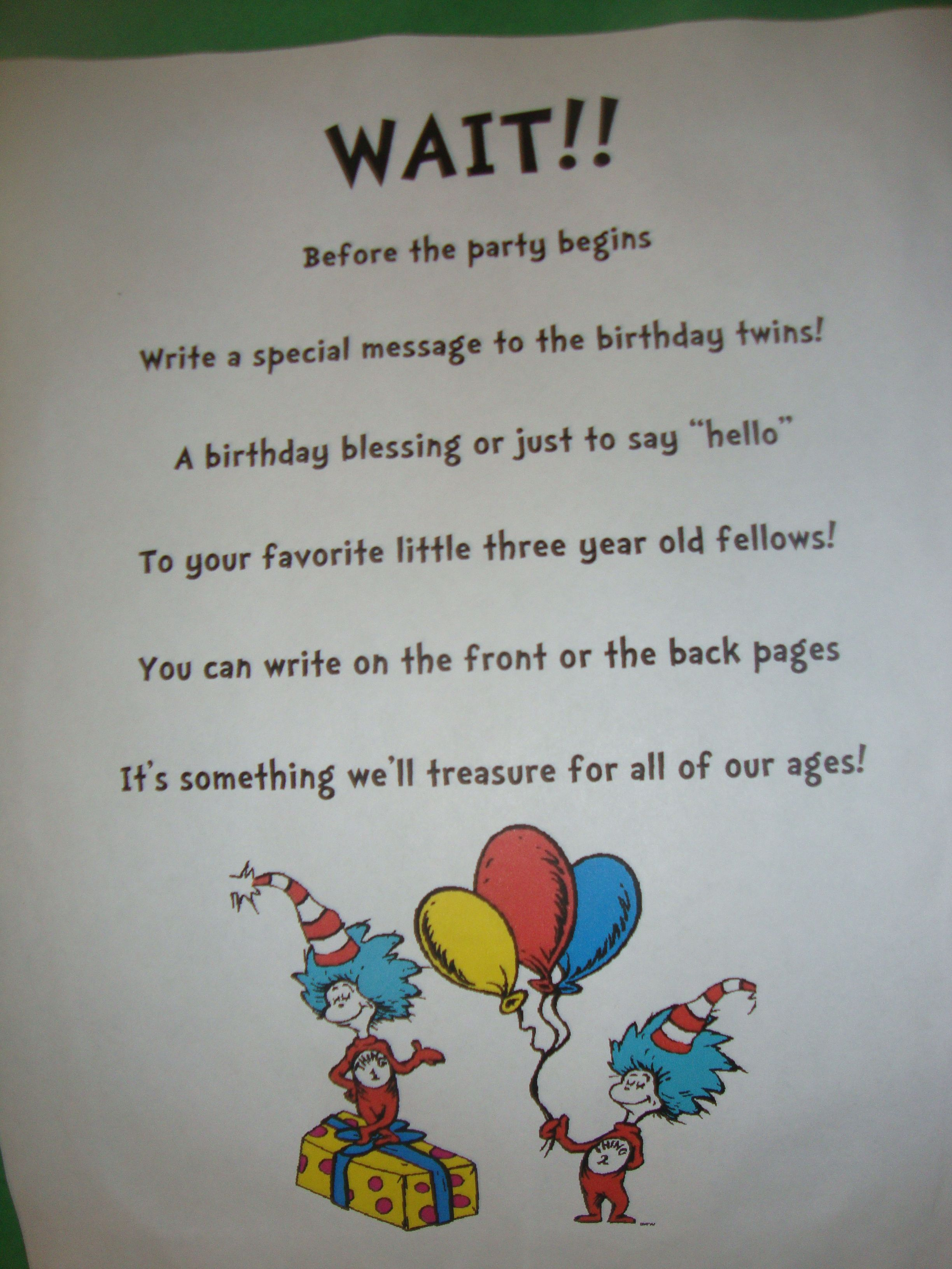 Book Signing Poem | Dr. Seuss Birthday Party | Pinterest ...