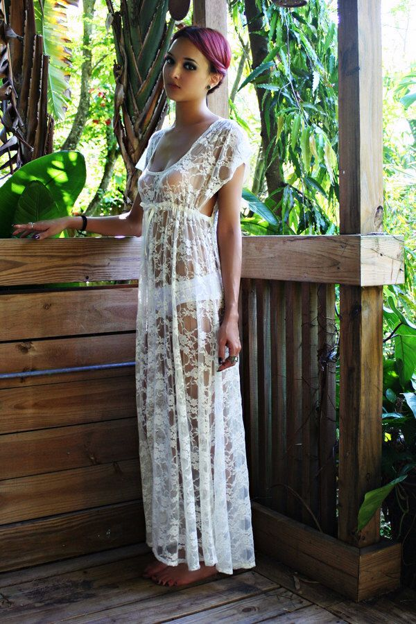 7a2cb0dae Sheer Lace Bridal Nightgown Lingerie Wedding Trousseau Ivory Lace White Lace  Empire Bodice Honeymoon Sleepwear by
