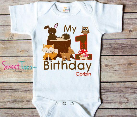 6c48acff6 First Birthday Shirt Woodland Animals Personalized Shirt fox deer owl  rabbit Boy Girl Baby Bodysuit