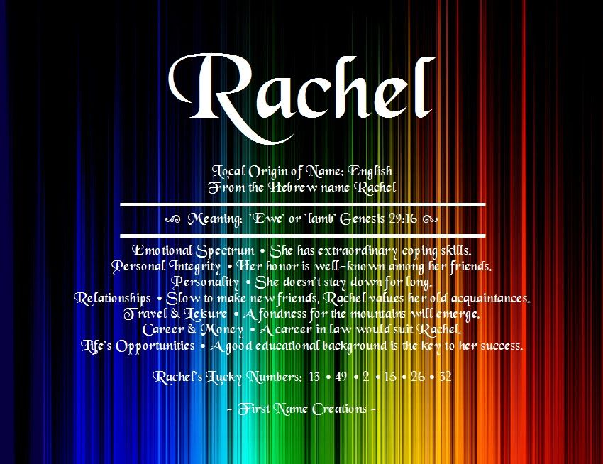Rachel Name Meaning - First Name Creations | My Style