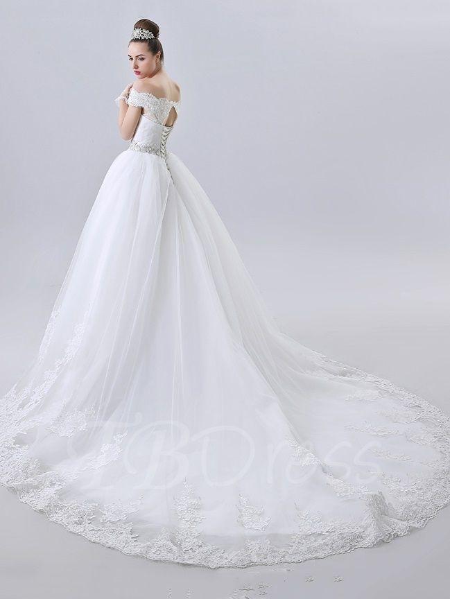 A-Line Off the Shoulder Chapel Train Lace Wedding Dress - m.tbdress ...