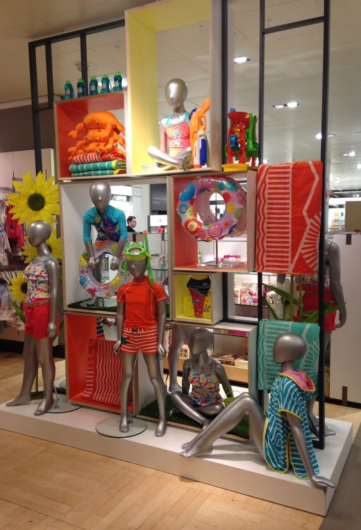 Kids visual merchandising summer retail store display. VM
