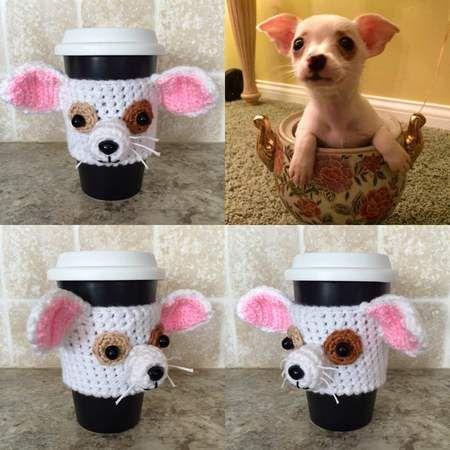 Crochet Pattern - Chihuahua Mug Cozy, Crochet Dog Pattern, Cup Cozy ...