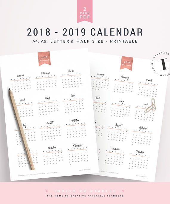 Pink Calendar 2019 2020 Calendar Calendar 2019