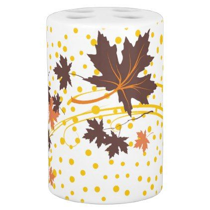 Brown Maple Leaves And Yellow Polka Dots Modern Bath Set  Pattern