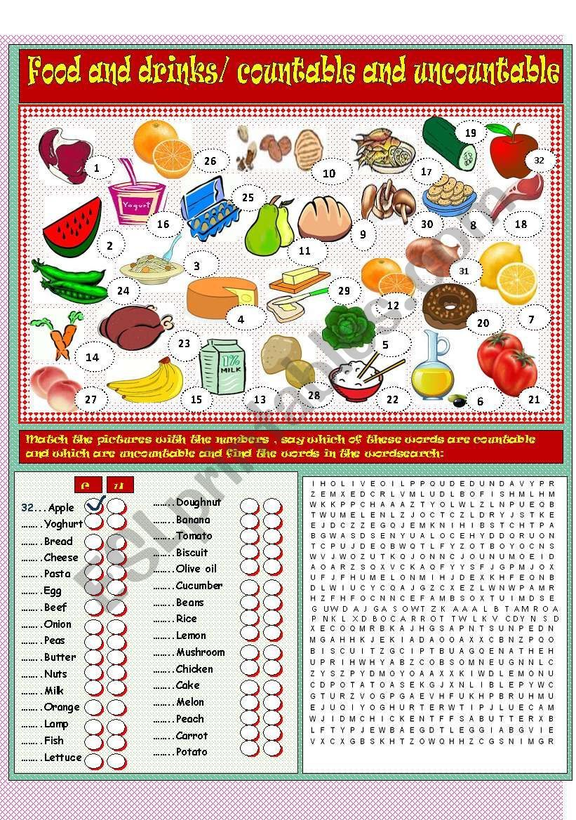 A useful worksheet for practicing countable and