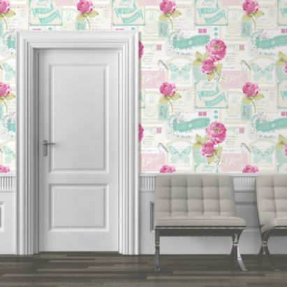 Muriva blue green pink white postcard rose mica wallpaper bq for all your home and garden supplies and advice on all the latest diy trends