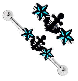 Black Anchor w/ 2 Black & Aqua lt blue Star Star's Tattoo inspired Nautical stars Surgical Steel Industrial Barbell bar body jewelry piercing ring Earring 32mm & 35mm & 38mm 14g 14 gauge - http://www.yourdreamtattoos.com/black-anchor-w-2-black-aqua-lt-blue-star-stars-tattoo-inspired-nautical-stars-surgical-steel-industrial-barbell-bar-body-jewelry-piercing-ring-earring-32mm-35mm-38mm-14g-14-gauge/?utm_source=PN&utm_medium=http%3A%2F%2Fwww.pinterest.com%2Fpin%2F368