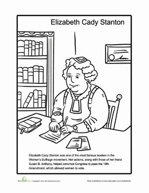 Feminist Coloring Pages Elizabeth Cady Stanton Women History
