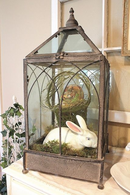 Gorgeous Easter Display - Use a lantern to feature a ceramic bunny.