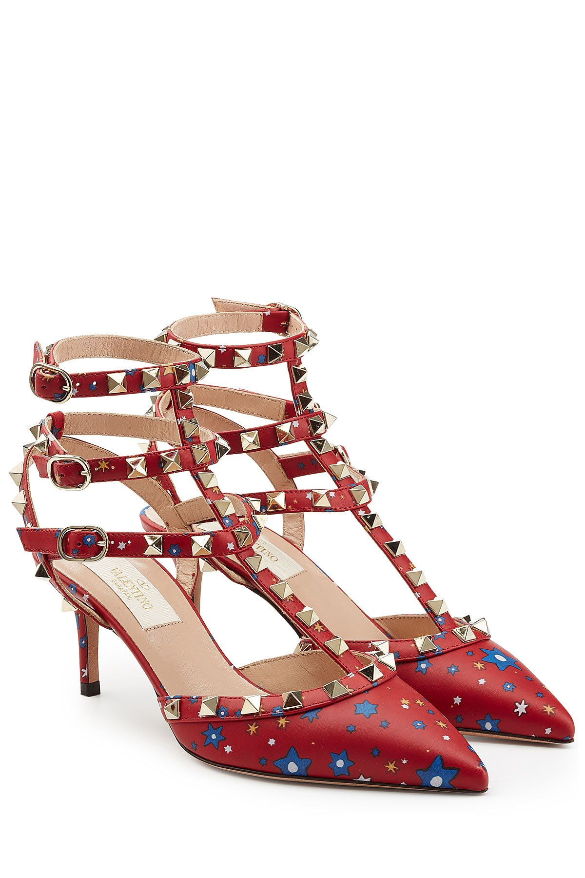 Printed Leather Rockstud Kitten Heel Pumps - Valentino | WOMEN