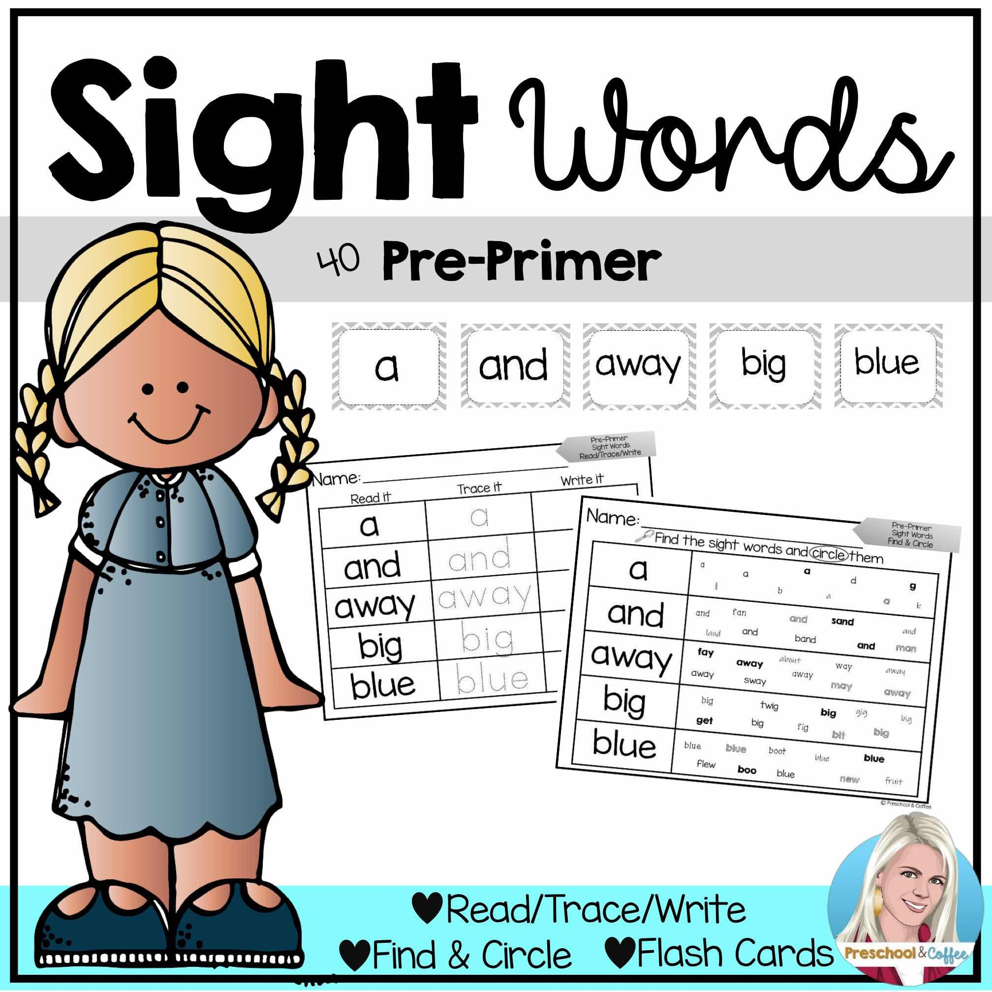 Pre Primer Sight Words Printable