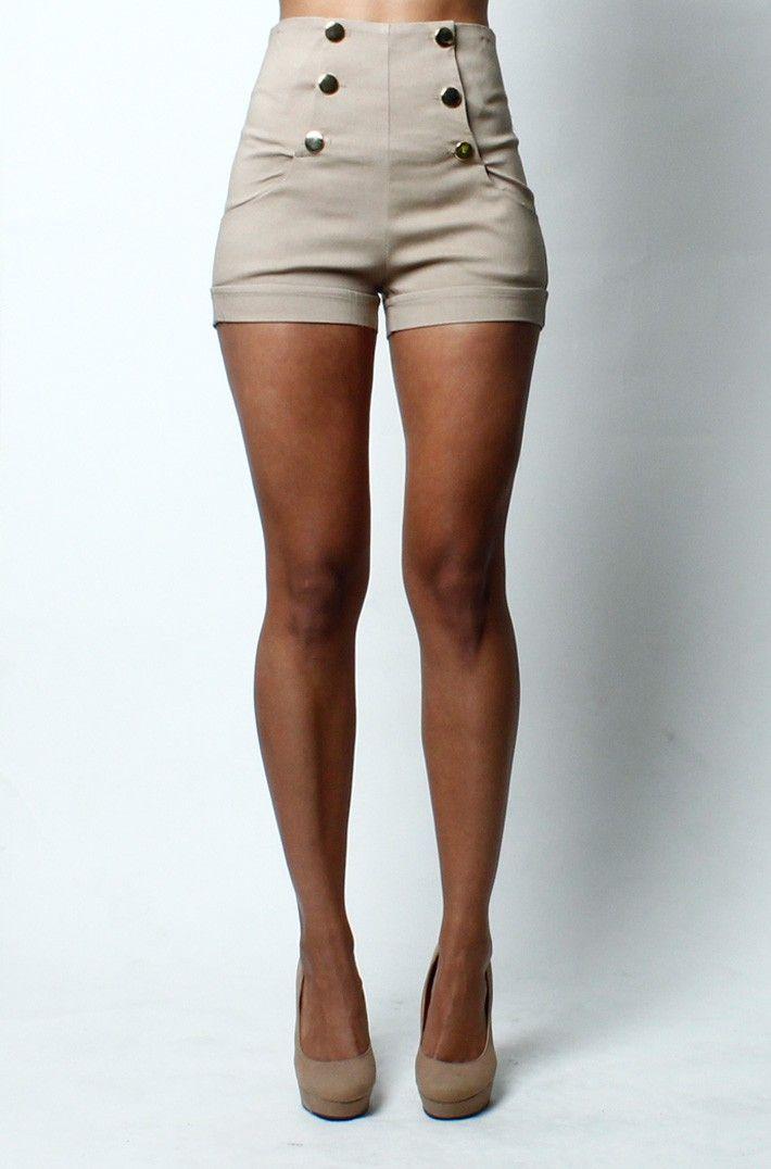 High waist front button shorts -beige- form Love Melrose | wish ...