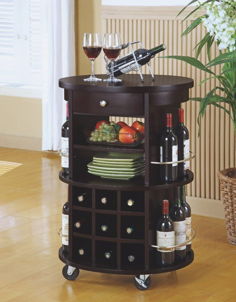 Cuccino Round Bar Serving Cart W Wine Storage Monarch Specialty I 3382