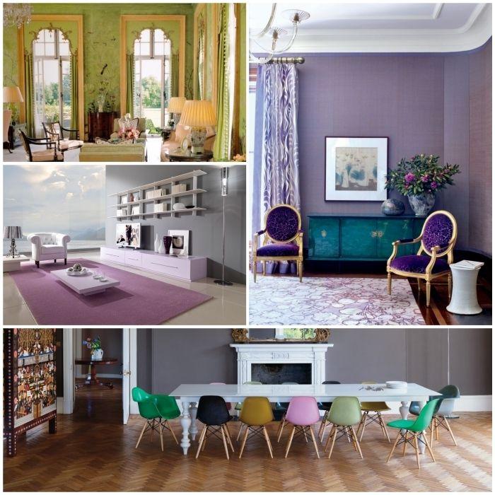 Farben kombinieren für eine originelle und effektvolle Einrichtung - weiss grau wohnzimmer mit violett deko