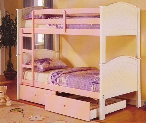 Pink & White Twin Over Twin Bunk Bed