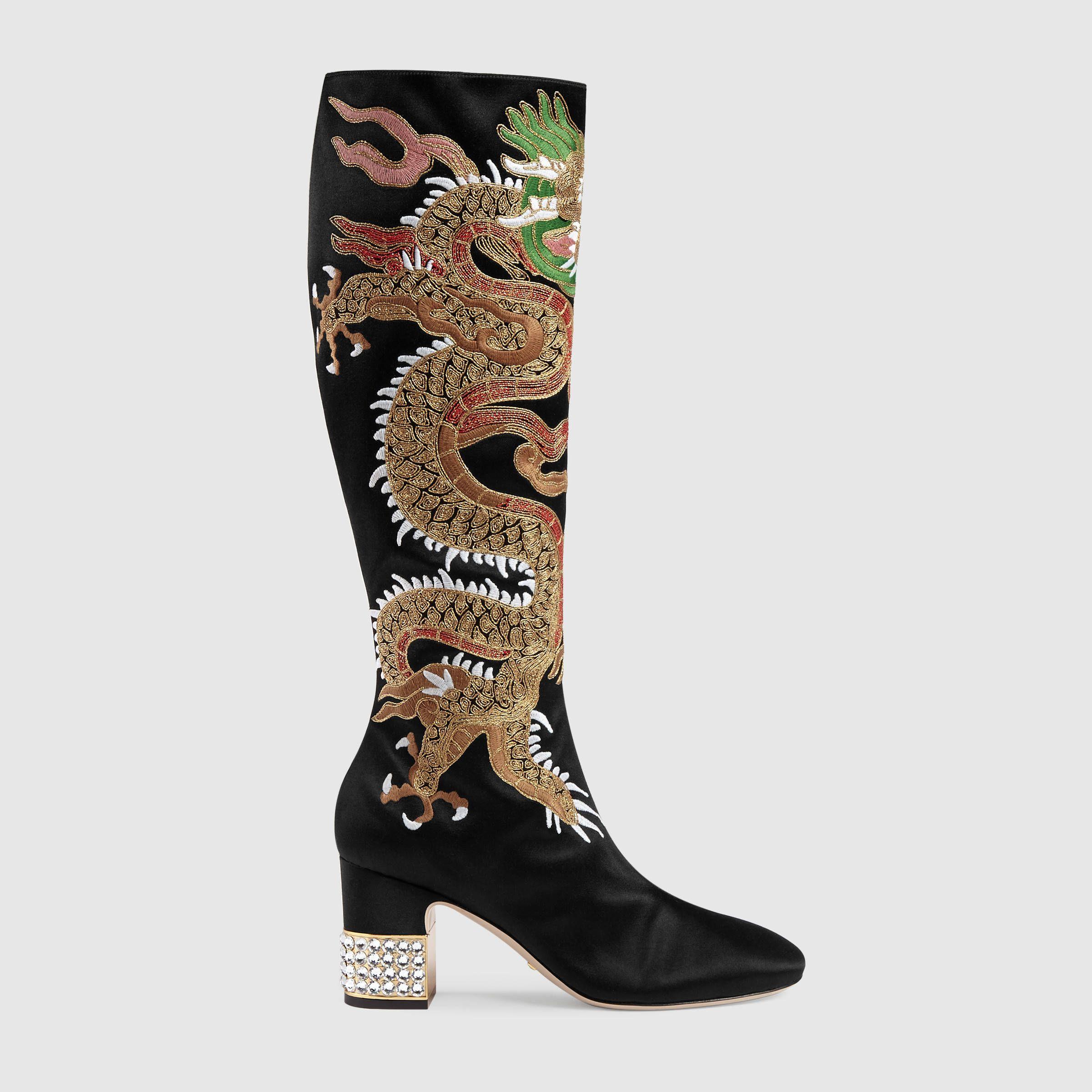 6876fc66f95 Gucci Dragon satin mid-heel knee boot Detail 5